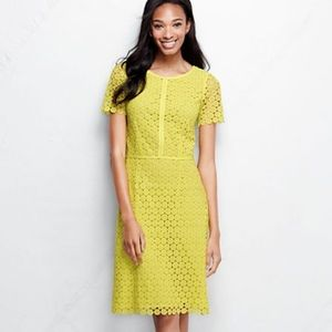 Lands' End Grosgrain Lace Sheath Yellow Dress